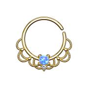 Septum Ring 18k vergoldet filigran mit Opal blau