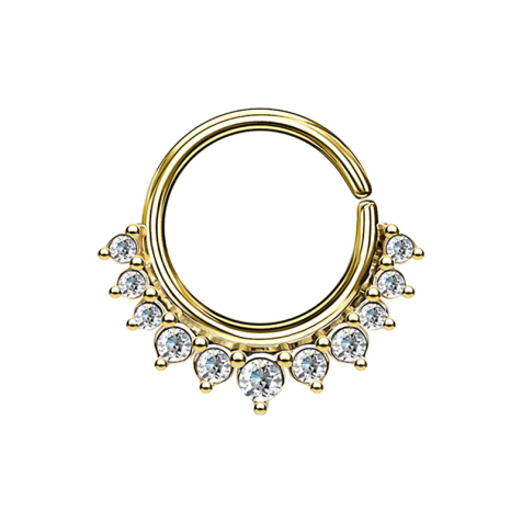 Septum Ring 14k vergoldet mit elf Kristallen