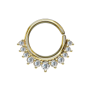 Septum Ring 14k vergoldet mit elf Kristallen