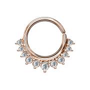 Septum Ring rosegold mit elf Kristallen