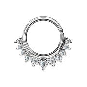 Septum Ring silber mit elf Kristallen