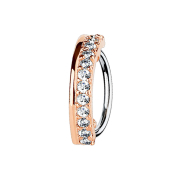 Micro Piercing Ring rosegold halbkreis mit dreizehn Kristallen