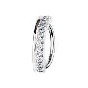 Micro Piercing Ring silber halbkreis mit dreizehn Kristallen