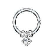 Micro Piercing Ring silber mit Kristallanhänger und Stahlperlen silber