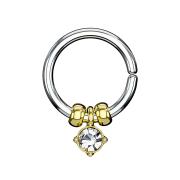 Micro Piercing Ring silber mit Kristallanhänger und Stahlperlen vergoldet