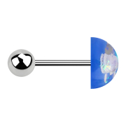 Micro Barbell silber mit Kugel und glitter Kuppel blau