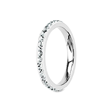 Ring silber mit Kristallband silber