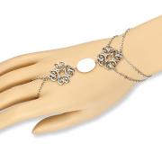 Armkette silber Tribal Herzen mit Perlmutt