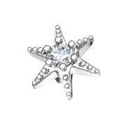 Dermal Anchor silber Seestern mit Kristall
