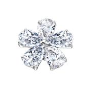 Dermal Anchor silber Blume mit Kristalltropfen