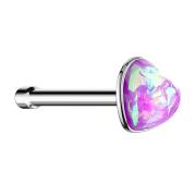 Nasenstecker gerade silber mit Opal Herz violett