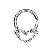 Septum Ring silber drei Kristalle und Kette