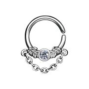 Septum Ring silber mit Kristall und Kette