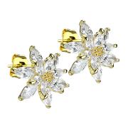 Ohrstecker 14k vergoldet Kristallblume