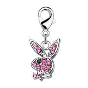 Anhänger silber Playboy Bunny Kristall pink