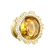 Plug vergoldet Lotus Blume mit topas Kristall