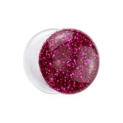 Flared Plug transparent mit Glitter fuchsia