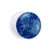 Flared Plug transparent mit Glitter dunkelblau