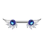 Brustwarzenpiercing silber Engelsflügel mit Kristall blau