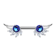 Barbell silber Engelsflügel mit Kristall blau