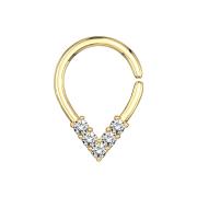 Micro Piercing Ring 14k vergoldet spitzig mit Kristallen