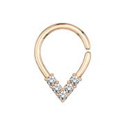 Micro Piercing Ring rosegold spitzig mit Kristallen