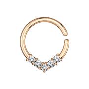 Micro Piercing Ring rosegold rund mit Kristallen