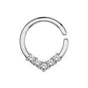 Micro Piercing Ring silber rund mit Kristallen