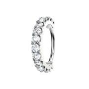 Micro Piercing Ring silber Kristallbogen silber