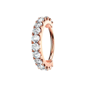 Micro Piercing Ring rosegold Kristallbogen silber