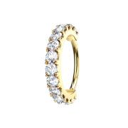 Micro Piercing Ring 14k vergoldet Kristallbogen silber