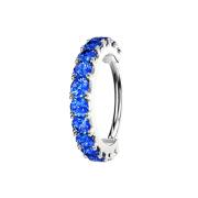 Micro Piercing Ring silber Kristallbogen dunkelblau