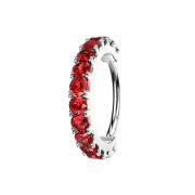 Micro Piercing Ring silber Kristallbogen rot