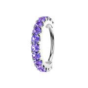 Micro Piercing Ring silber Kristallbogen tanzanite