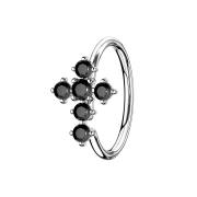 Micro Piercing Ring silber Kreuz schwarz