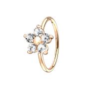 Micro Piercing Ring rosegold Kristallblume silber