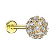 Micro Labret Innengewinde 14k vergoldet multi Kristallkugel