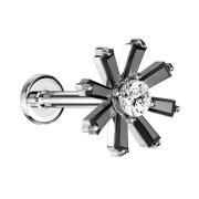 Micro Labret Innengewinde silber Kristallblume schwarz