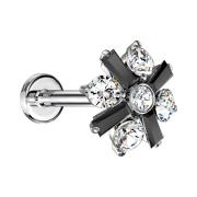 Micro Labret Innengewinde silber Kreuz Kristallblume schwarz