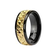 Ring schwarz goldstreifen mit Struktur