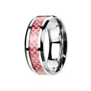 Ring silber Carbonstreifen pink
