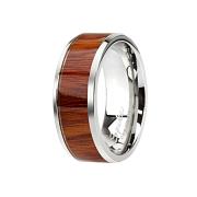 Ring silber Holzeinlage