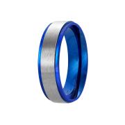 Ring blau Streifen gebürstet silber