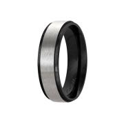 Ring schwarz Streifen gebürstet silber