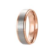 Ring rosegold Streifen gebürstet silber