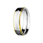 Ring silber zwei Goldstreifen Forever Love