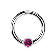 Ball Closure Ring silber und Kristall fuchsia