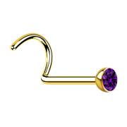 Nasenstecker gebogen vergoldet mit Kristall violett
