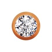 Micro Kugel rosegold mit Kristall silber