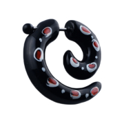 Fake Spirale schwarz mit roten Punkten